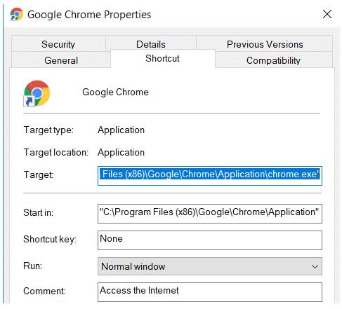 Google Chrome Target Field
