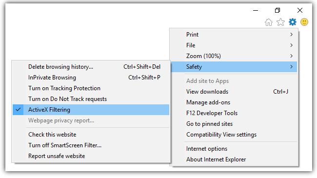 Uncheck ActiveX Filtering