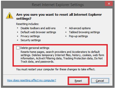 delete personal settings