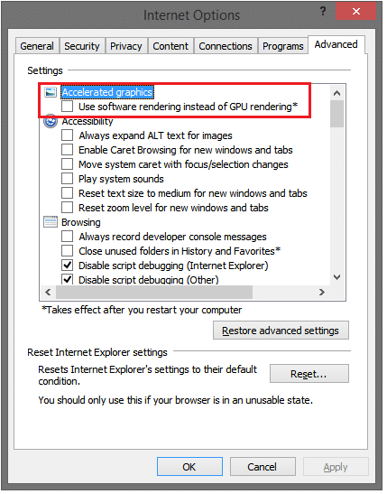 internet options gpu rendering
